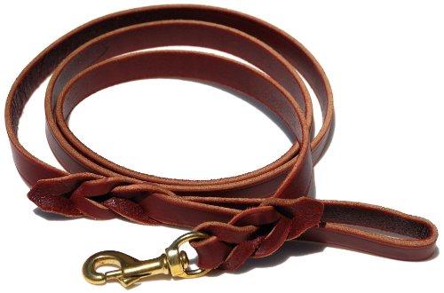 - Signature K9 Braided Leather Leash, 6-Feet x 3/4-Inch, Burgundy