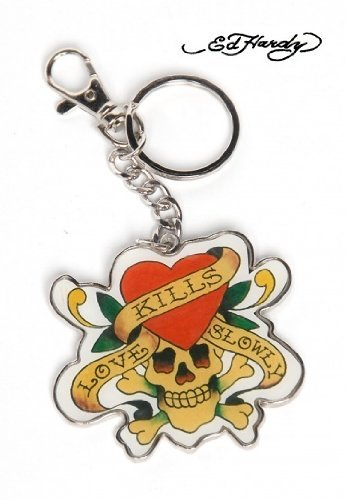 Ed Hardy Love Kills Slowly Polydomed Chrome Finish Key Ring Keyring Keychain by Ed Hardy ()