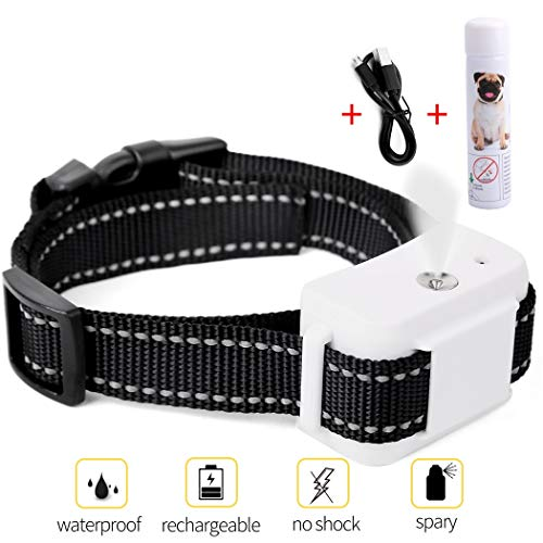 Dog Bark Collar, Jing Cheng Compact Anti-Bark Dog Spray Bark Collar with Auto-Barking Detection , Adjustable Sensitivity, Humane, Rechargeable and Waterproof for Small Medium Large Dogs (Dog Citronella Collar)