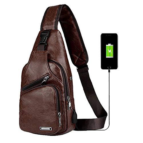 Oscuro USB Puerto Bandolera con oscuro Senderismo de para marrón Bolso Hombre Negocios para Escuela Piel Viajes Carga Pacawa marrón de sintética 8PpwWU