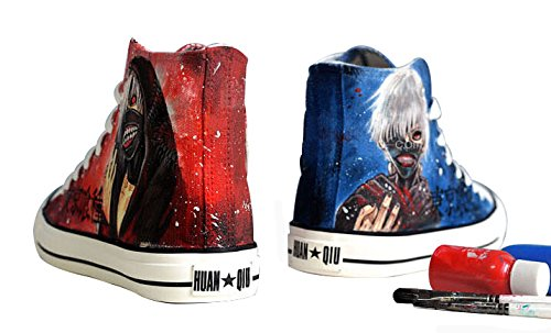 Tokyo Ghoul Ken Kaneki Cosplay Canvas Shoes Hand-painted Shoes Sneakers Red and Blue jTqnVTkC