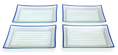 GAC Rectangular Tempered Glass Dinner Plate Set With Blue Trim, Service for 4, Break and Chip Resistant – Microwave and Oven Safe – Dishwasher Safe - Decorative Serving Plate