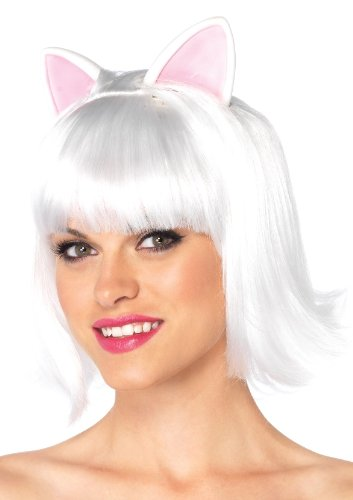 Leg Avenue Costumes Kitty Kat Bob Wig with Attached Ears W Adjustable Elastic Strap, White, One Size -