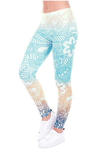 Yoga Crop Legging - Ayliss Printed Brushed Leggings Regular Plus Size Stretchy Capris 22Pattern,Light Blue Mandala,L-XL