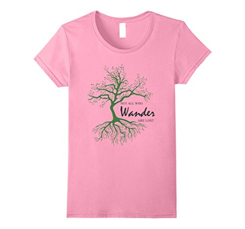 Womens Not All Who Wander Are Lost Shirt XL (Lost Womens Pink T-shirt)