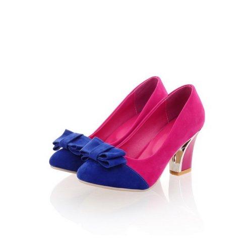 PU couleurs pompes avec fermées assorties filles bowknot givrées VogueZone009 rond bout talon bleu chaton PwA0YWFvqW