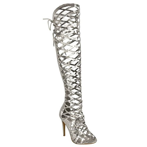 LADIES WOMENS KNEE HIGH CUT OUT STILETTO HEEL LACE SANDALS GLADIATOR BOOTS SIZE Silver Crinkle 5DoHUkMgHI