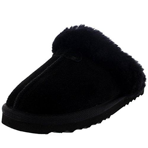 Echte Suède Winter Warme Muilezels Zwart