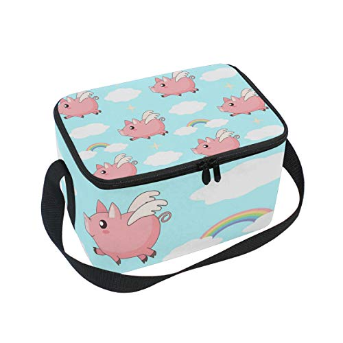 (FOLPPLY Funny Pig Flying Swing Rainbow Pattern Lunch Bag, Zipper Insulated Cooler Tote Bag, Lunchbox Meal Prep Handbag for Picnic School Women Men Kids)