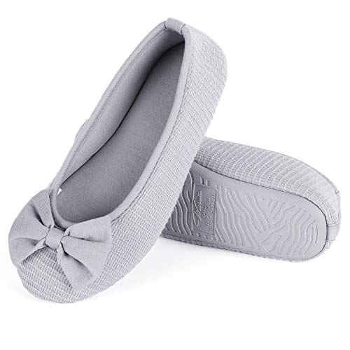 - Wishcotton Womens Bow-Knot Memory Foam Ballerina Slippers Dark Grey
