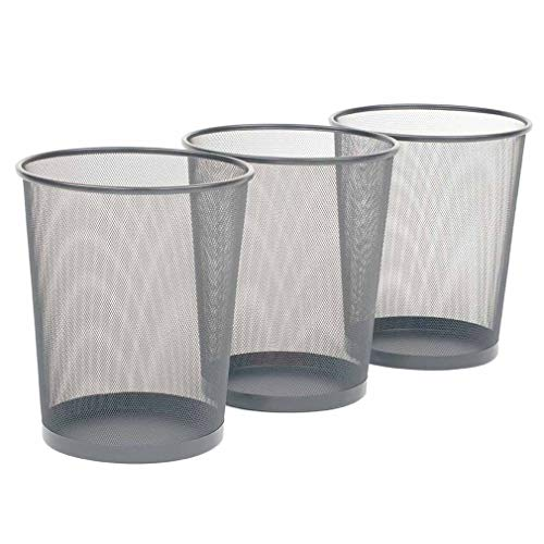 24 Liter Trash Can 3-Pack Round Mesh Wastebasket Recycling Bin Provides a Trash and Recycling Capacity Up to 6 Gallons (20 Liters) Per Wastebasket; Regular 8 Gallon Trash Bags Fit The Wastebasket