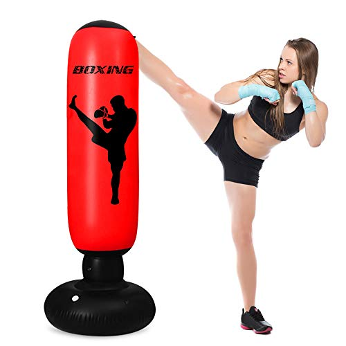 TUOWEI Inflatable Punching Bag for Kids,63 Inch Kids Punching Bag with Stand Bounce Back, Boxing Bag for Kids and Adults…