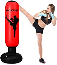 Inflatable Punching Bag for Kids,63 Inch Free Standing Punching Bag, Kids Adults Standing Boxing Bag,Free Stan