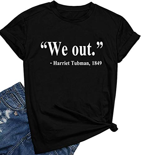 - ROSEPARK Women We Out Graphic Tee Teen Girl Cute T shirt Black Small