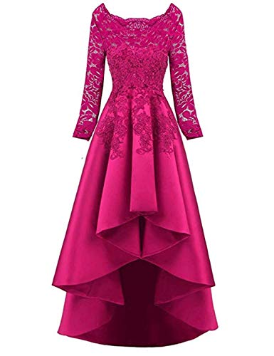 Scarisee Women's 2019 Long Sleeves High Low Prom Evening Dresses Beaded Lace Bridesmaid Cocktail Party Gowns 2019 Fuchsia 26 Plus ()