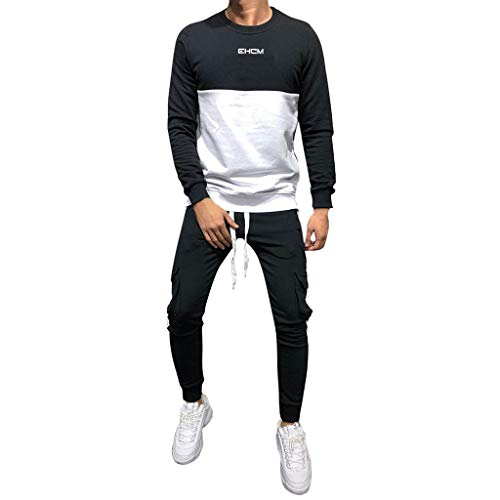 Tracksuits for Mens, WOCACHI Men's Autumn Winter Thicken Sweatshirt Top Pants Sets Sports Suit Tracksuit Outerwear Garments Clothes Gentleman Trendy Overcoat Daily Solid Camo Pure Color ()