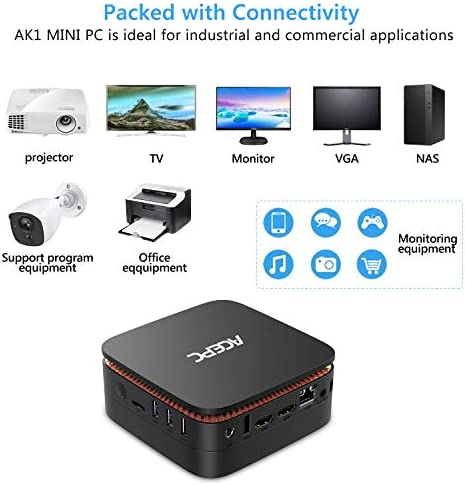 ACEPC AK1 Mini PC, Windows 10 Pro(64-bit) Intel Celeron Apollo Lake J3455 Processor(up to 2.3GHz) Desktop Computer,4GB DDR3/64GB eMMC,2.4G+5G Dual WiFi,Gigabit Ethernet,BT 4.2,4K 416pCHQxP2L
