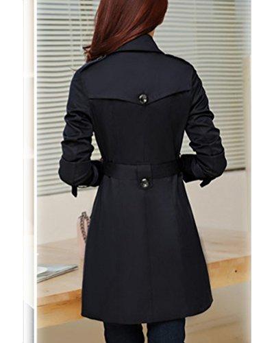 Negro Larga con Abrigo Chaqueta Foso Mujer Capa Cinturon Trench HAB48qxT