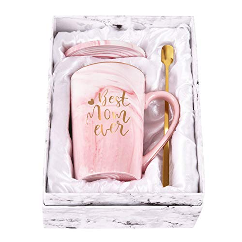 Best Mom Ever Coffee Mug Mom Mother Gifts Marble Ceramic Coffee mug Novelty Gift for Mom Women Christmas Thanksgiving Gifts for Mom Mother Printing with Gold 14Oz with Gift Box Packing Spoon