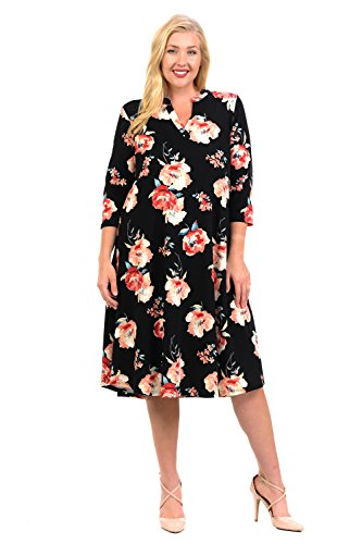 Pastel by Vivienne Women's Textured Trapeze Midi Dress With Mao Collar XX-Large Floral Black - Sale For Black Coral