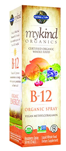 Garden of Life mykind Organic B12 Vitamin - Whole Food B-12 for Metabolism and Energy, Raspberry, 2oz Liquid
