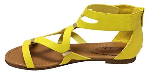 Sandali gialli con cerniera Baratas Para Agradable qmGXbE