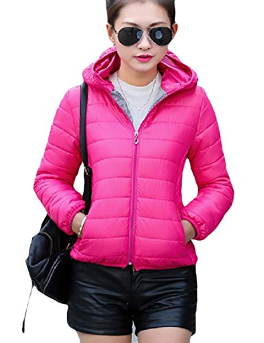 Solid Hoodie Womens Color Zips with Coat Energy Mini Warm Fitted Rose Down Red with FaIxYwA