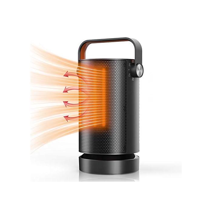 416pClGd84L ? Super silencioso: no notarás muchos usos. Incluso en el nivel de rendimiento más alto, el dispositivo puede mantener unos 50 dB (A) muy silenciosos. ? Energía eficiente:En comparación con el calefactor portátil tradicional, este producto utiliza un elemento de calentamiento cerámico PTC, Eficiencia de conversión de energía de hasta 99%, el aire se calienta de manera eficiente, la potencia máxima es de 1000 W, en comparación con productos similares de 1500W en el mismo tiempo de trabajo, ahorra el 30% de la energía eléctrica, ahorra energía y dura más. ? Diseño de Rotación de 70 °: La función de la rotación de 70 grados hace el área de la calefacción más grande y el calor más uniforme, ayudando a evitar la sequedad de la piel causada por el aire caliente que sopla en una dirección durante mucho tiempo al cuerpo. La calefacción en direcciones múltiples acelera el ciclo termal del ambiente, mejora eficacia de la calefacción, la lectura y trabajo.