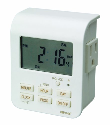 Woods 50009WD Indoor 7-Day Heavy Duty Digital Plug-In Timer, 2 Grounded Outlets (Digital Grounded Duty Heavy Timer)
