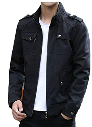 Collar EKU Bomber up Mens Casual Lightweight Jacket Zip Stand Black Irw0Cq6r