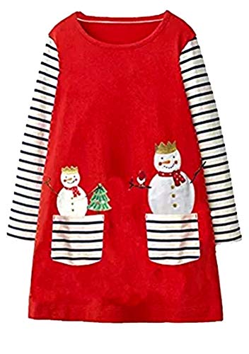 Cute Toddler Baby Girl Cotton Long Sleeve Red Christmas Snow Man Santa Basic Shirt Dress -