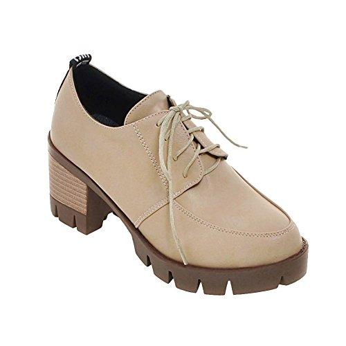 Show Shine Womens Chic Retro Platform Thick Heel Oxfords Shoes Beige zpfFHVc6
