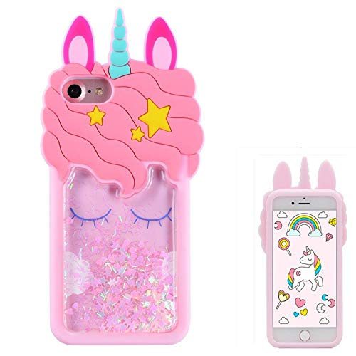 Joyleop Quicksand Unicorn Case for iPhone 5 5C 5S SE,Cute 3D Cartoon Animal Cover,Kids Girls Cool Fun Glitter Soft Silicone Gel Rubber Bling Kawaii Character Unique Shell Skin Protector for iPhone5 (5 Iphone Squishy Cases)