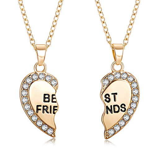 You May 2pcs Per Set Heart Rhinestone Best Friends Engraved Pendant Friendship Necklace ()