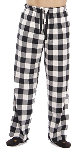 (#FollowMe 45902-1B-S Polar Fleece Pajama Pants for Men/Sleepwear/PJs, White Buffalo Plaid, Small )