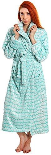 Simplicity Women's Soft Plush Shawl Collar Bathrobe Kimono Robe Sleepwear,Blue