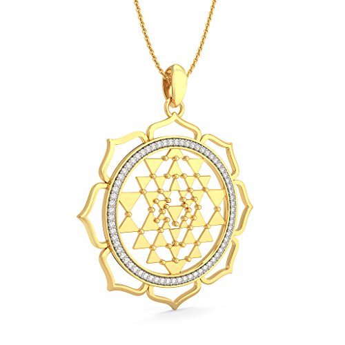 14 K Or jaune 0,34 CT TW Round-cut-diamond (IJ | SI) Pendentif