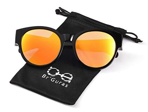 Br'Guras Polarized Oversized Fit over Sunglasses Over Prescription Glasses with Cat Eye Frame for Women&Men (Black, Mirror yellow/orange)