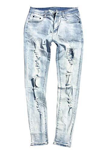 Novità Jeans Da Saoye Giovane Hellblau Fashion Casual Denim Pants Rattoppati Streetwear Clubwear Holes Uomo Pantaloni 5CqvrHwE4q