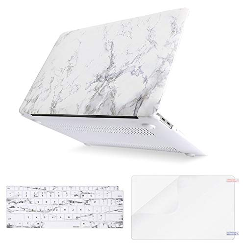 MOSISO MacBook Air 13 Inch Case 2018 Release A1932 with Retina Display, Plastic Pattern Hard Shell & Keyboard Cover & Screen Protector Only Compatible Newest MacBook Air 13, White Marble