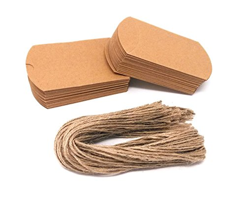 aper Pillow Candy Box with 50pcs Jute Twine for Wedding Party Favor (Brown Wedding Favor Boxes)