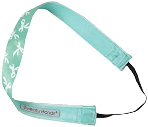 Sweaty Bands Ribbons On Ribbons Headband, Turquoise/White, 1-Inch