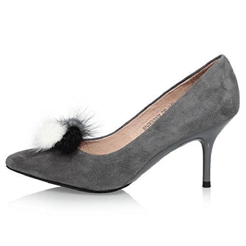 Printemps Couleur Talon De EU36 CN36 Chaussure Amende Bouche Mode UK4 B7428545 Hauts Peu Unie Mesdames Couleur Gray Sunny Et Profond Talons Taille Automne qEfnTw