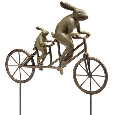 Tandem Bicycle Bunnies Garden Statue