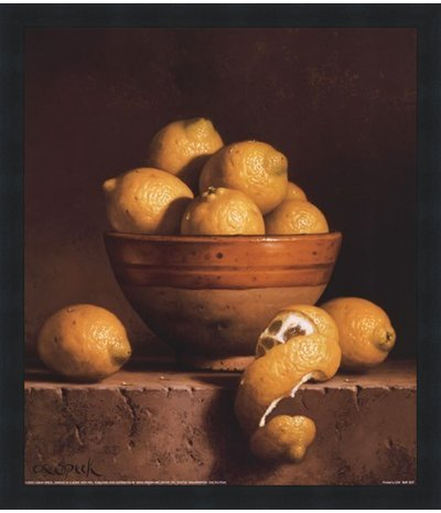 - Poster Palooza Framed Lemons in a Bowl with Peel- 12x14 Inches - Art Print (Classic Black Frame)