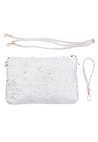 Paillettes Celebrazione Leslii Bianco | Pochette Alla Moda | Accessorio Moda Femminile | 31 Cm X 21 Cm