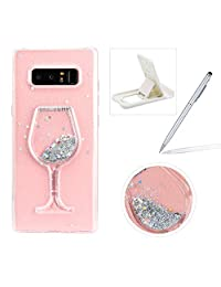 Glitter Liquid Case for Samsung Galaxy Note 8,Soft Flexible Clear TPU Case for Samsung Galaxy Note 8,Herzzer Stylish 3D Floating Silver Stars Bling Wine Glass Sparkle Crystal PC Back Cover