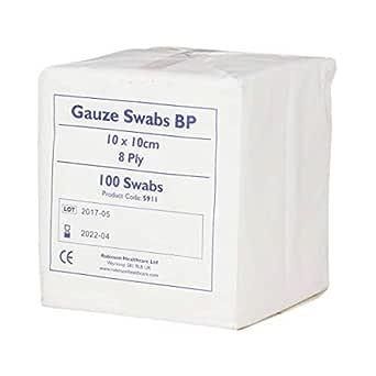 Premier 1660 - Gasas de algodón absorbentes (8 capas, 10 x 10 cm, 100 unidades), color blanco: Amazon.es: Industria, empresas y ciencia