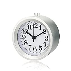 Smileto® Creative Small Round Classic Aluminium Silent Desk Travel Alarm Clock With Nightlight Snooze Function(Silver)