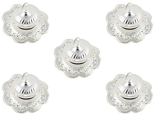 GoldGiftIdeas Silver Plated Flower Shape Sindoor Dabbi with Lid, Indian Pooja Items for Home, Return Gifts for Housewarming and Baby Shower, Indian KumKum Box for Gift with Potli Bags (Pack ()